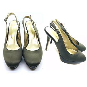 Pedro Miralles Shoe Sling Green Satin Round Toe
